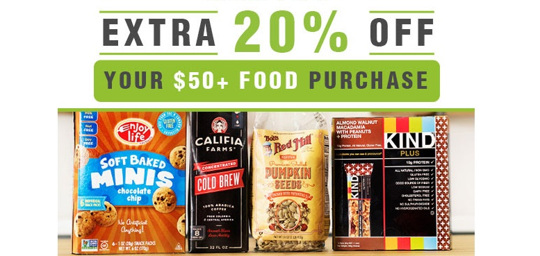 Vitacost 20% off $50 Food Purchase! (expired)