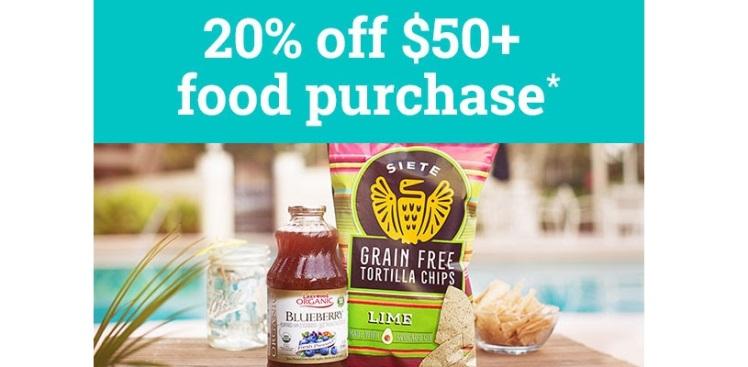 Vitacost Food Sale - 20% off $50